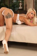 Sexy Blonde Slut Strips To Naked 04