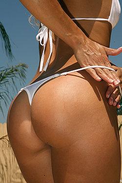 Sexy Blonde Babe In white Bikini