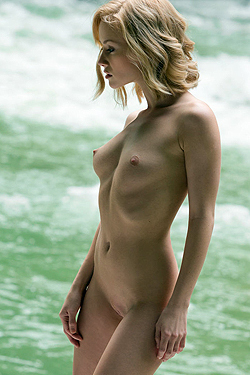Naked Blondie Posing By The River