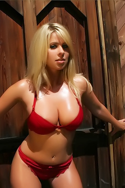 Oiled Blonde Drops Red Lingerie