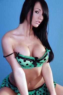 Destiny Dixon Takes Off Her Sexy Green And Black Polka Dot Lingerie