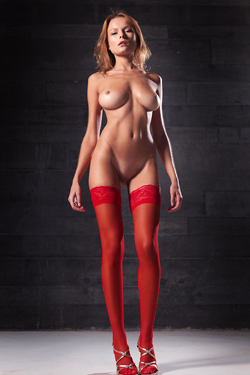 Luba Shumeyko In Fiery Red Satin