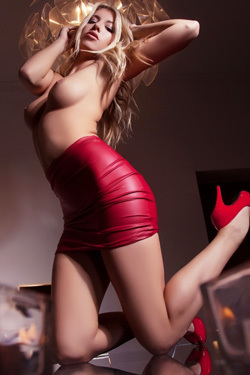 Blonde Bexie Tight Red Leather