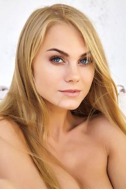 Giggling blue-eyed blonde darling Nancy A
